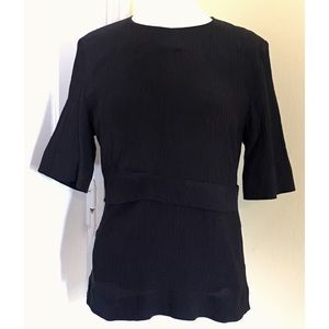 COS Black Pleated Silk Top